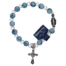 Elastic bracelet with light blue glass grains and Miraculous Virgin Mary s1