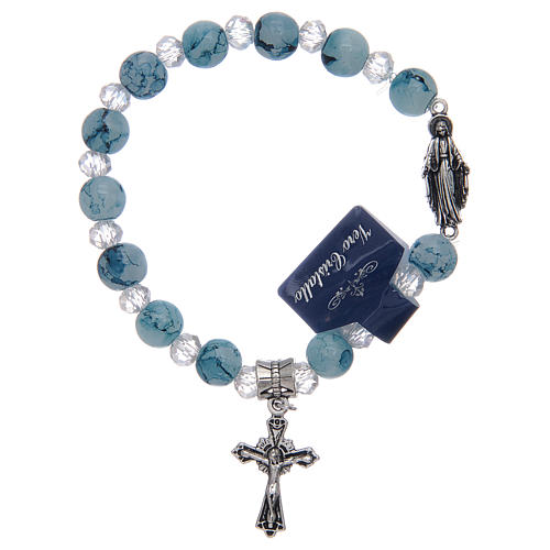 Elastic bracelet with light blue glass grains and Miraculous Virgin Mary 1