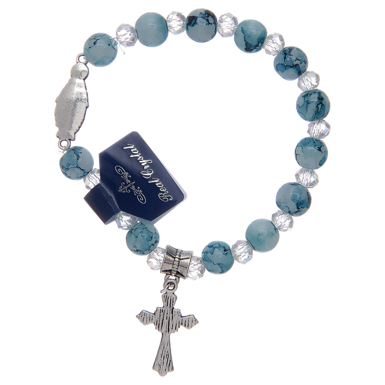 Elastic bracelet with light blue glass grains and Miraculous Virgin Mary 4