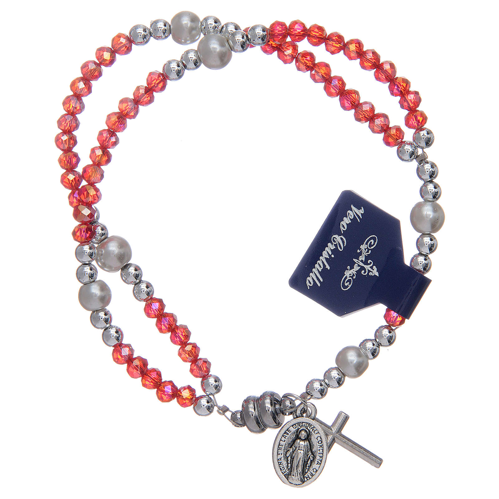 Bracelet with red crystal grains and magnetic closure 4