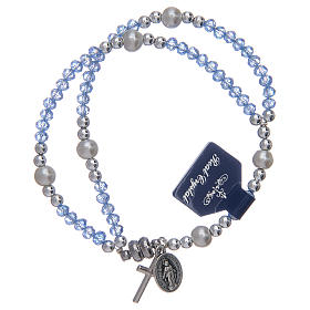 Single decade rosary bracelets: Bracelet with light blue crystal grains
