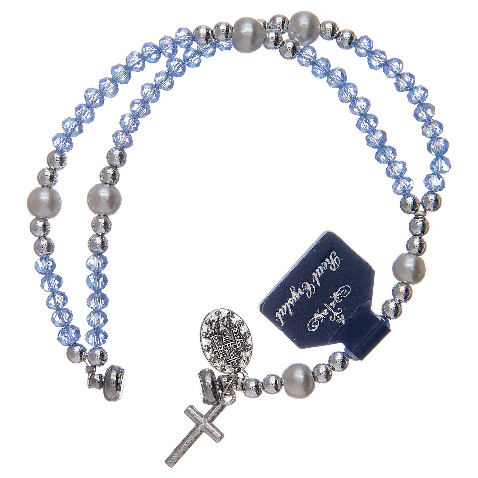 Bracciale con grani in cristallo di colore azzurro 4