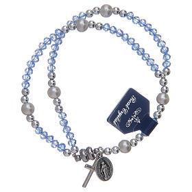 Bracciali decina: Bracciale con grani in cristallo di colore azzurro