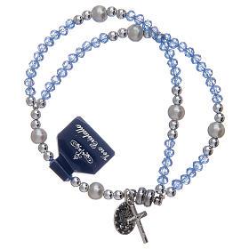 Bracciale con grani in cristallo di colore azzurro s2
