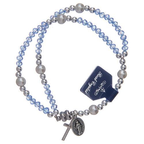 Bracciale con grani in cristallo di colore azzurro 1