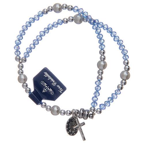 Bracciale con grani in cristallo di colore azzurro 2