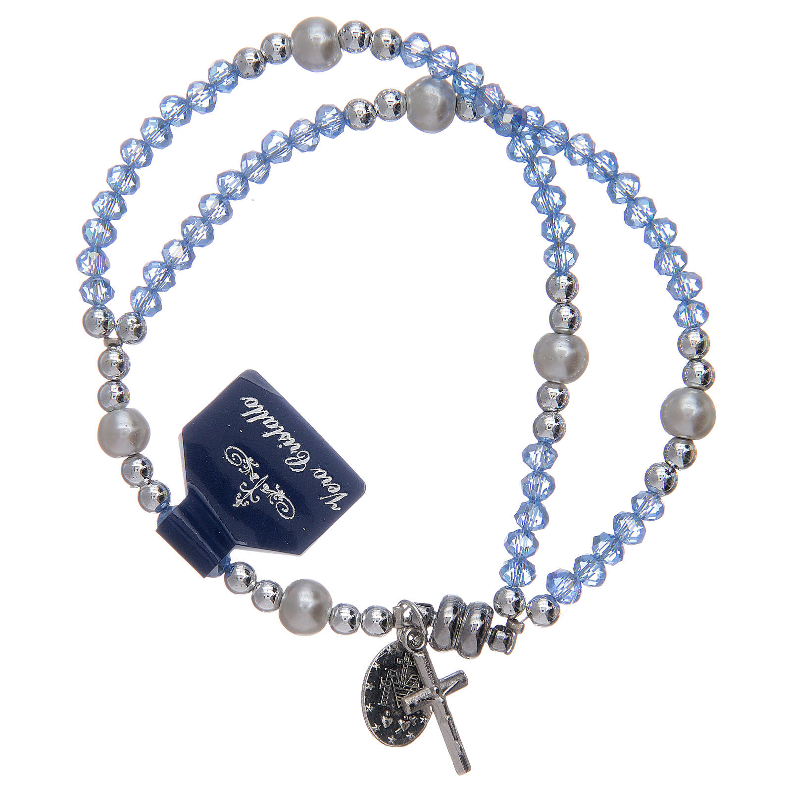 Bracelet with light blue crystal grains 4