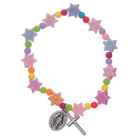 Bracciale con grani multicolore a forma di stella s1
