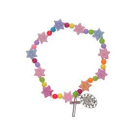 Bracciale con grani multicolore a forma di stella s2