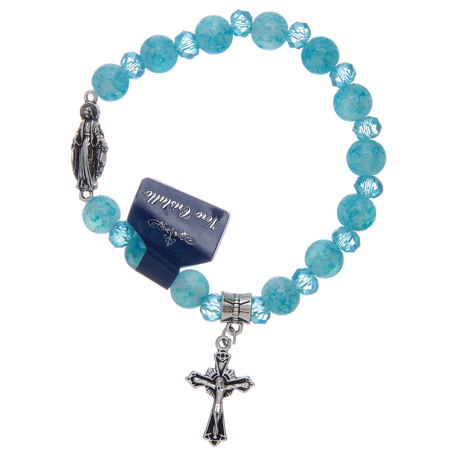 Bracelet chapelet avec grains en verre et cristal Miraculeuse divers coloris 4