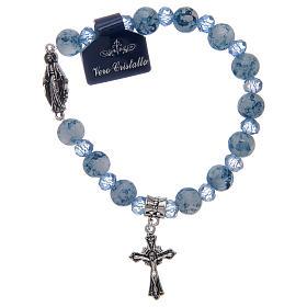 Bracelet chapelet avec grains en verre et cristal Miraculeuse divers coloris s2