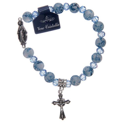 Bracelet chapelet avec grains en verre et cristal Miraculeuse divers coloris 2