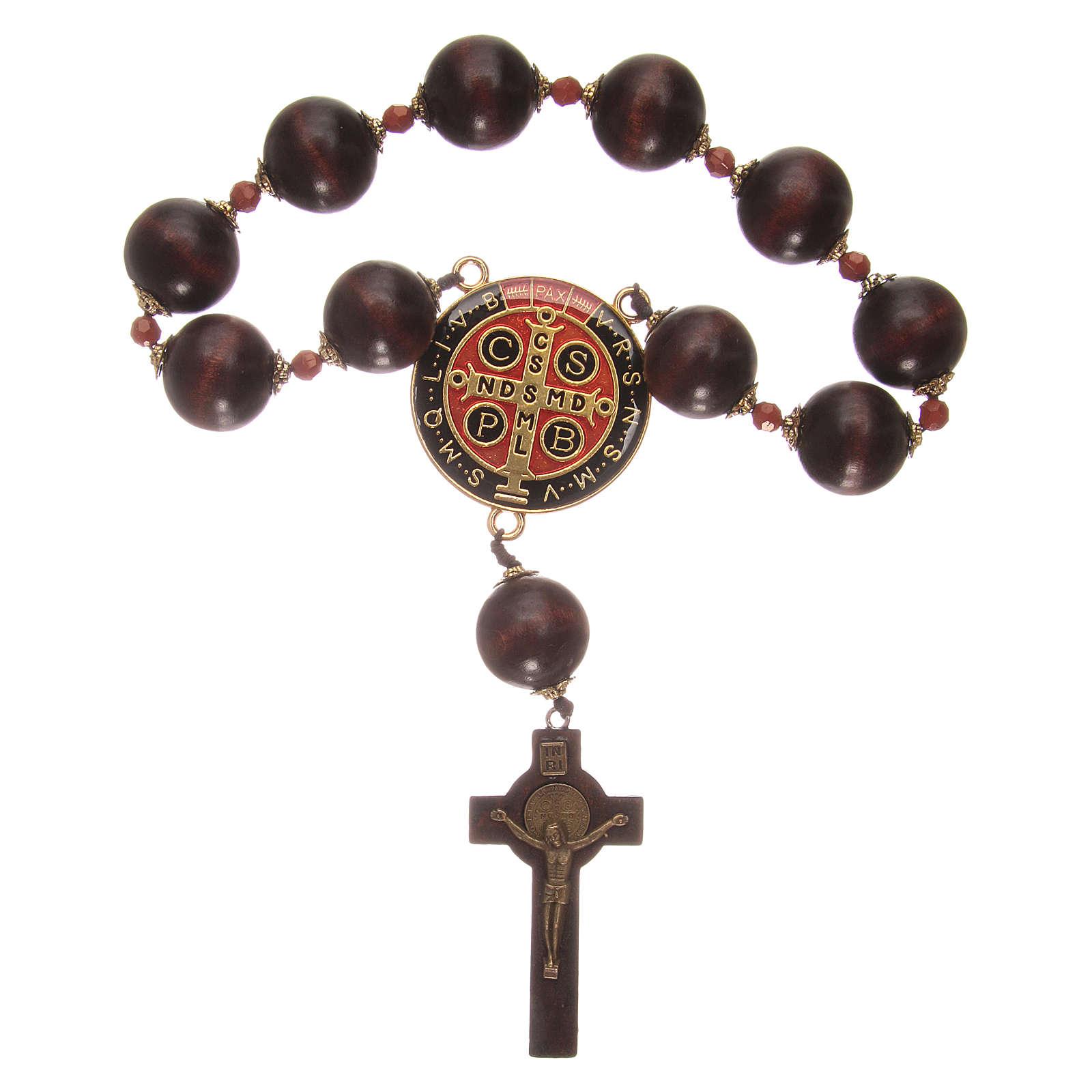 Wooden dozen rosary bracelet with S. Benedict medalet 4