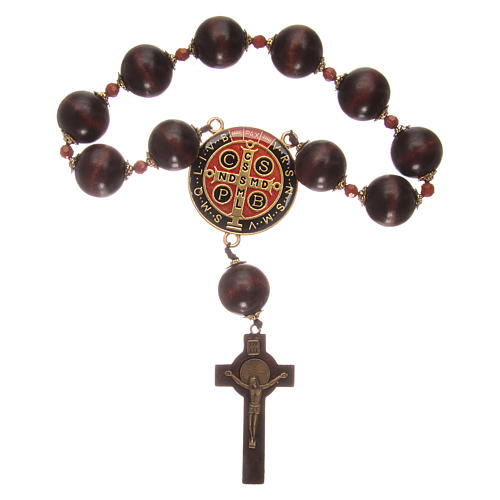 Wooden dozen rosary bracelet with S. Benedict medalet 2