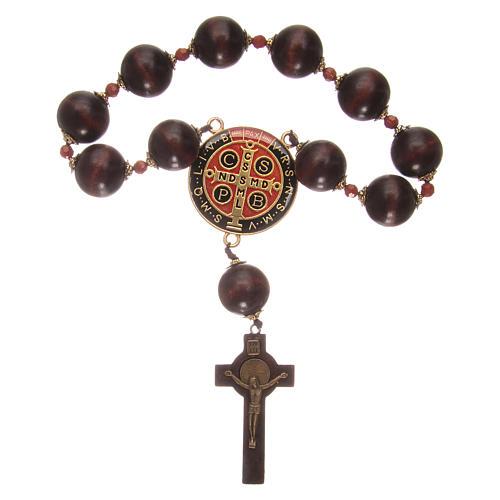 Rosario decena para colgar de madera con medalla de San Benito 2