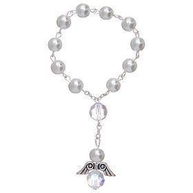 Zehner Rosenkranz Glasperlen und Engelchen gemischten Farben s1