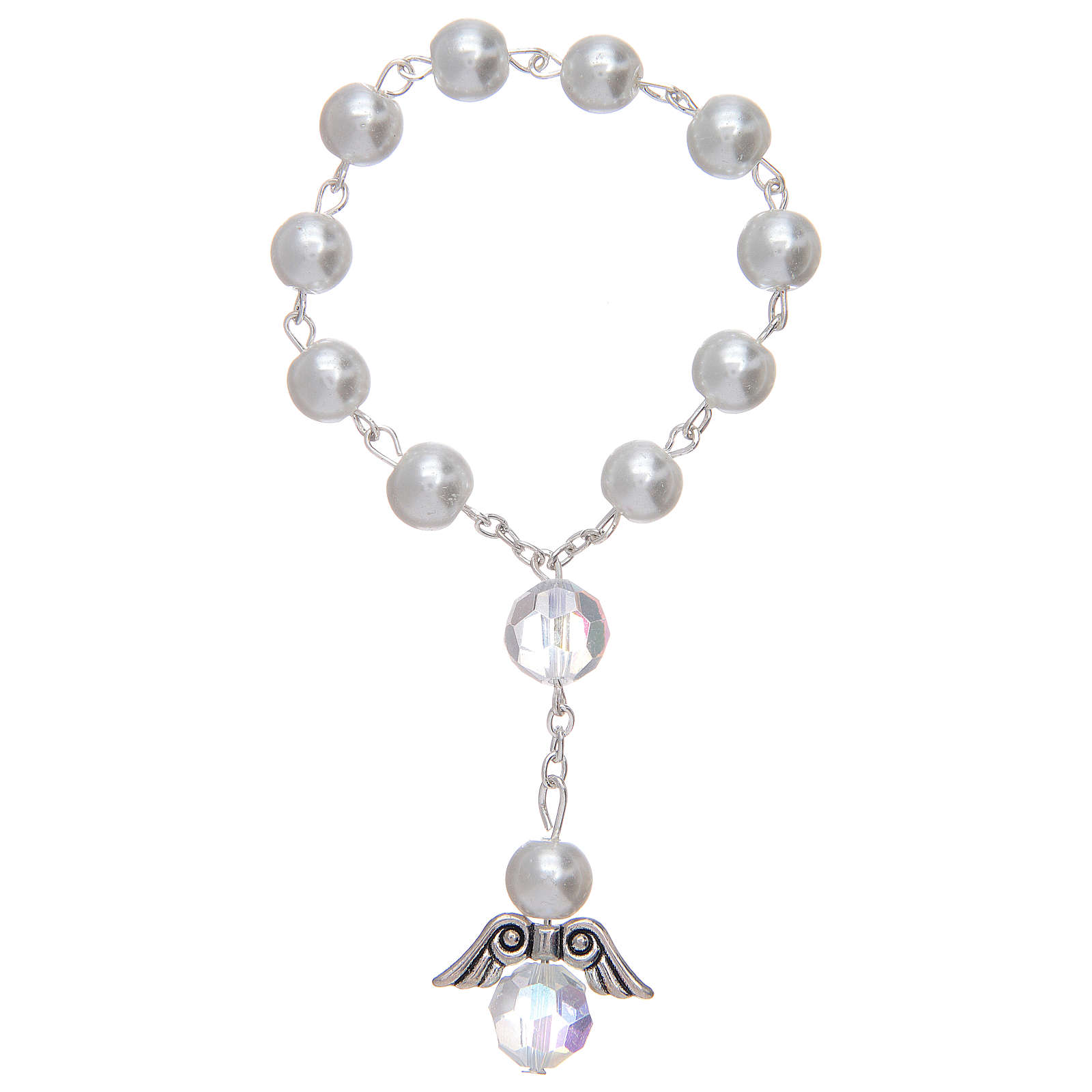 Dozen bracelet with grains made in pearl imitation and pendant, assorted colours 4