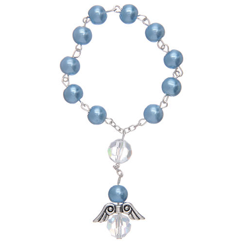 Dozen bracelet with grains made in pearl imitation and pendant, assorted colours 3