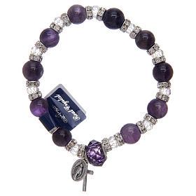Bracelet avec grains en verre imitation améthyste et cristal s1