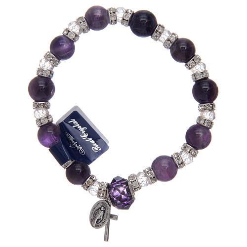 Bracelet avec grains en verre imitation améthyste et cristal 1