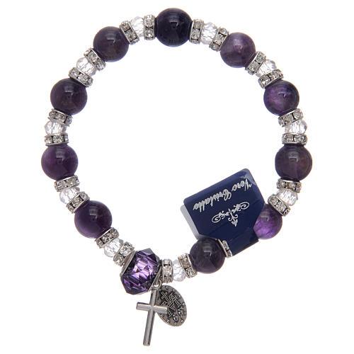 Bracelet avec grains en verre imitation améthyste et cristal 2