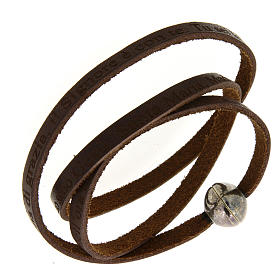 Leather bracelet with Hail Mary incision s1
