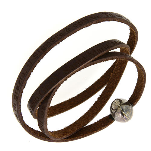 Leather bracelet with Hail Mary incision 1