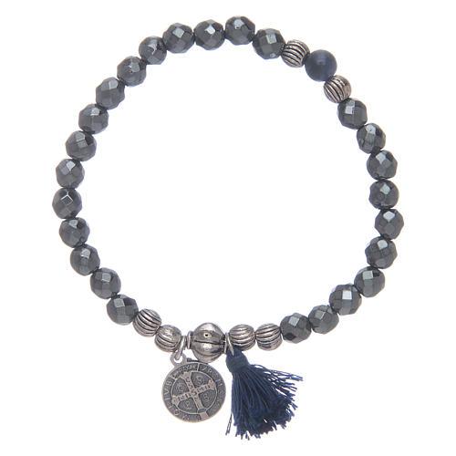Bracelet élastique en hématite et médaille St Benoît 2
