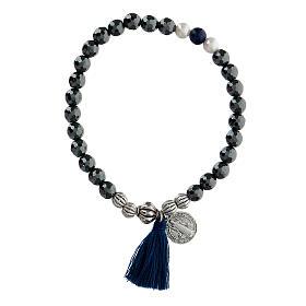Bracciale elastico in ematite e medaglia San Benedetto