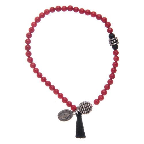 Bracelet élastique avec grains en onyx et médaille Miraculeuse 1