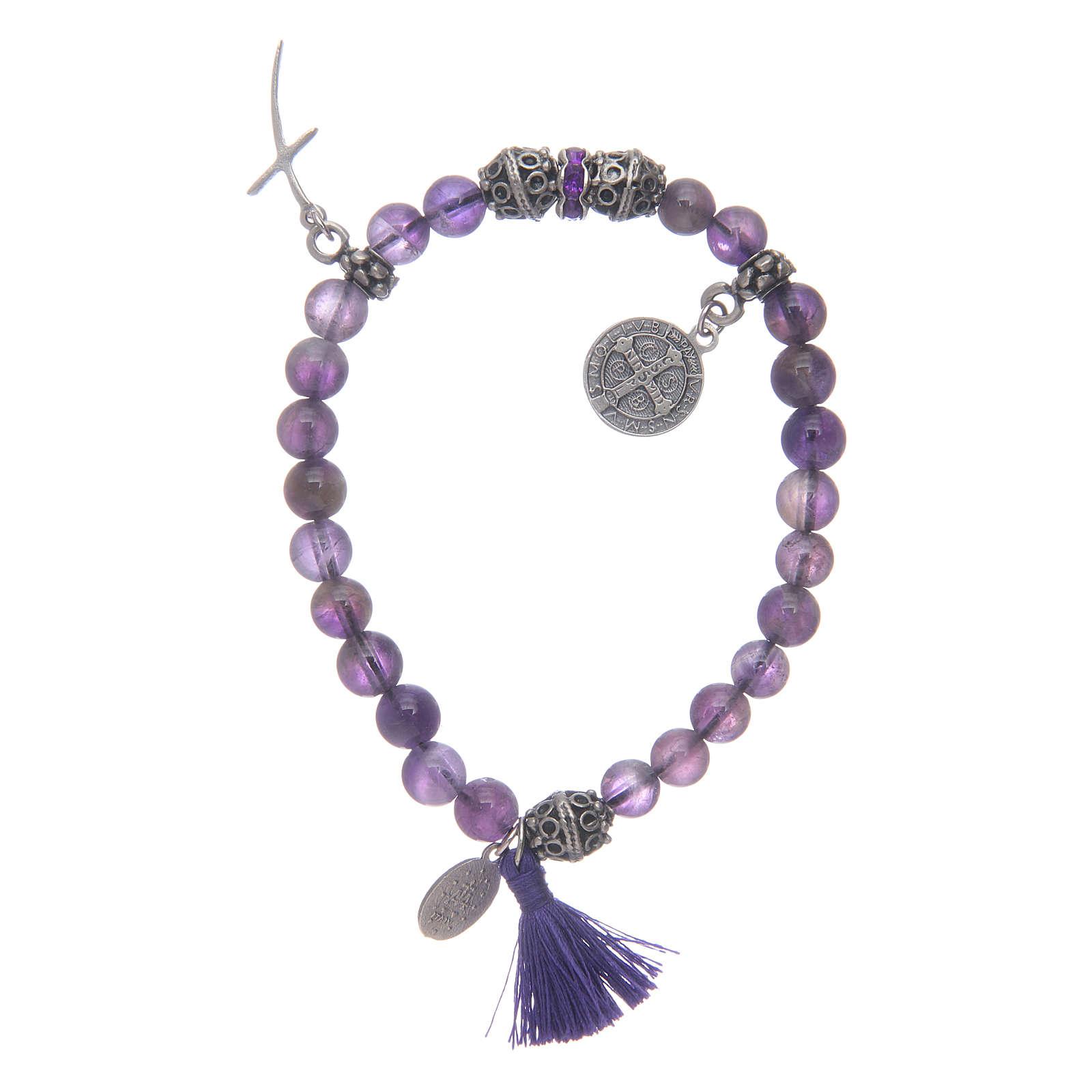Elastic bracelet in amethyst stone and Saint Benedict medalet 4