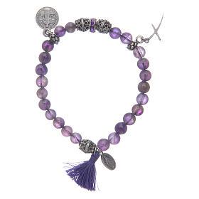 Single decade rosary bracelets: Elastic bracelet in amethyst stone and Saint Benedict medalet