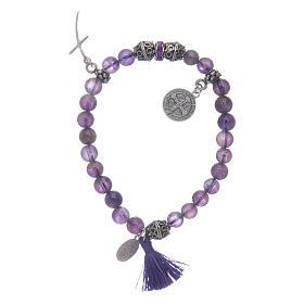 Elastic bracelet in amethyst stone and Saint Benedict medalet s2