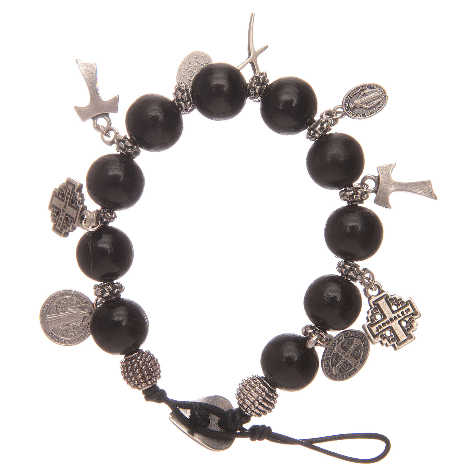 Dozen rosary bracelet with black wooden grains and pendants 4