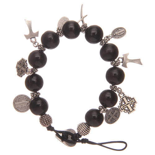 Dozen rosary bracelet with black wooden grains and pendants 2