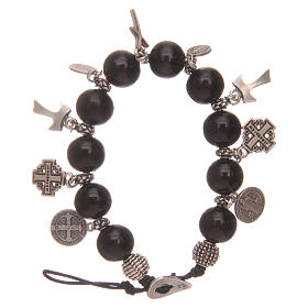 Dozen rosary bracelet with black wooden grains and pendants s1