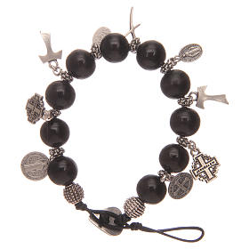 Dozen rosary bracelet with black wooden grains and pendants s2