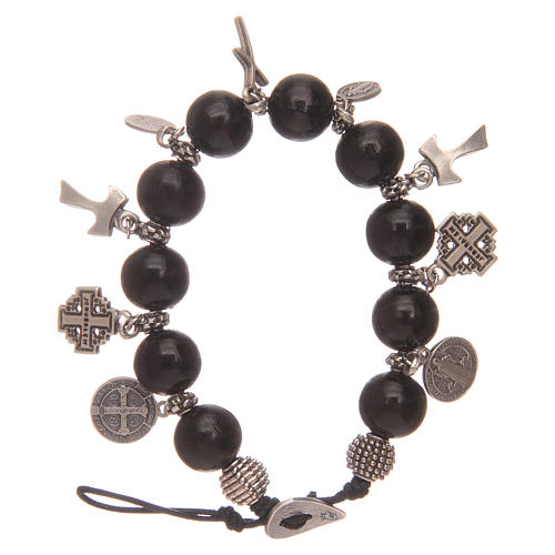 Dozen rosary bracelet with black wooden grains and pendants 1