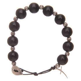 Dozen rosary bracelet with wooden grains and cross 12 mm s1
