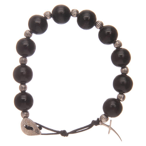 Dozen rosary bracelet with wooden grains and cross 12 mm 1