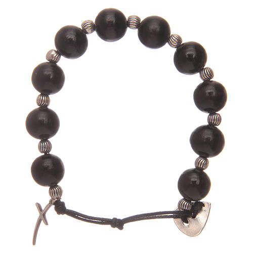 Dozen rosary bracelet with wooden grains and cross 12 mm 2