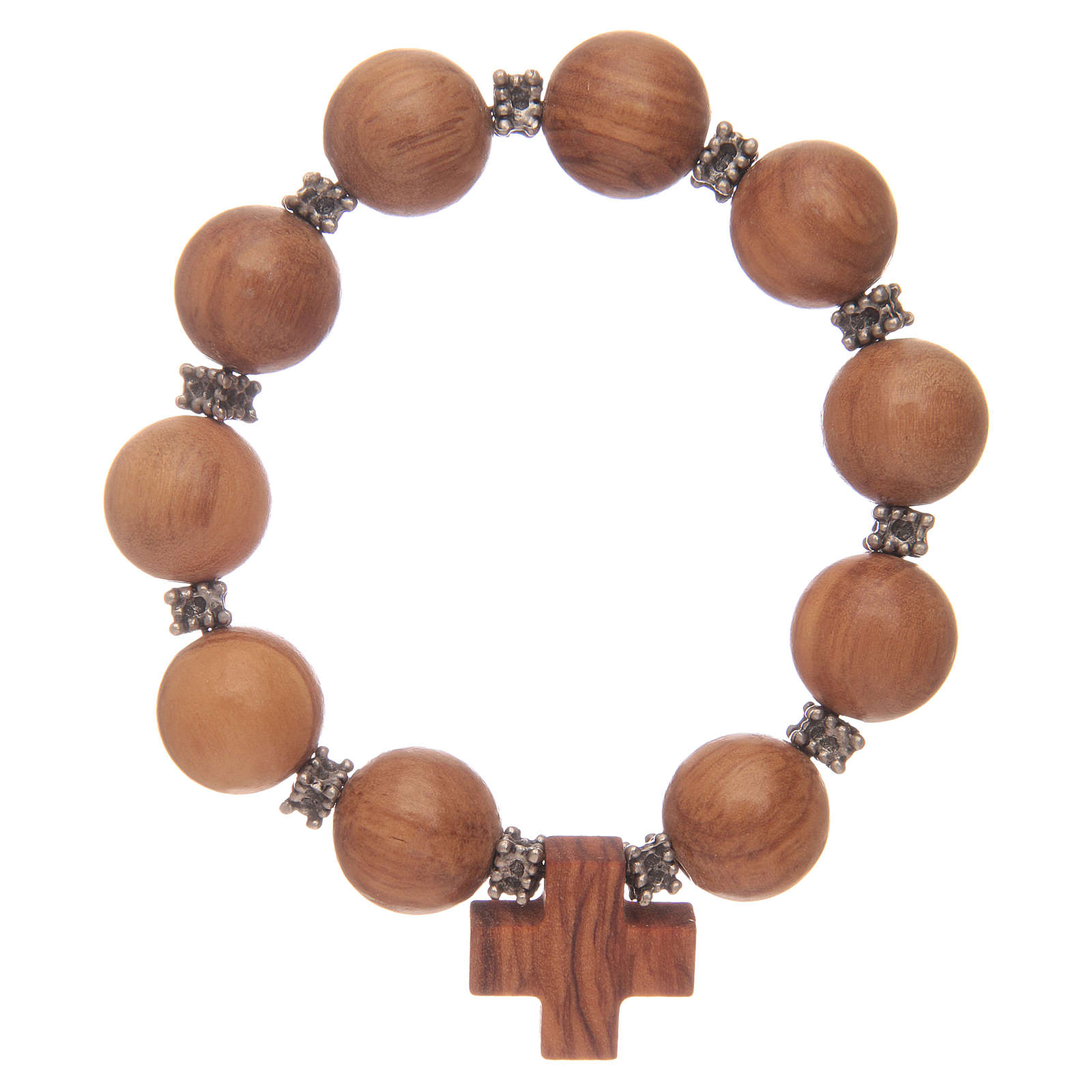 Dozen rosary bracelet with elastic and olive wood grains and cross 4