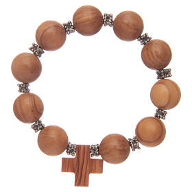 Dozen rosary bracelet with elastic and olive wood grains and cross s2