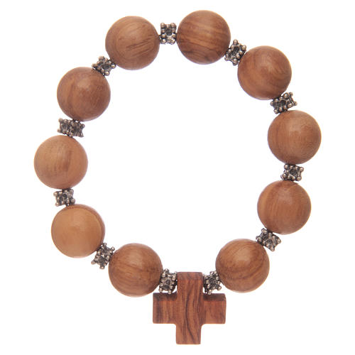 Dozen rosary bracelet with elastic and olive wood grains and cross 1