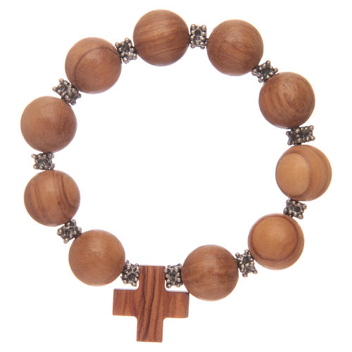 Dozen rosary bracelet with elastic and olive wood grains and cross 2