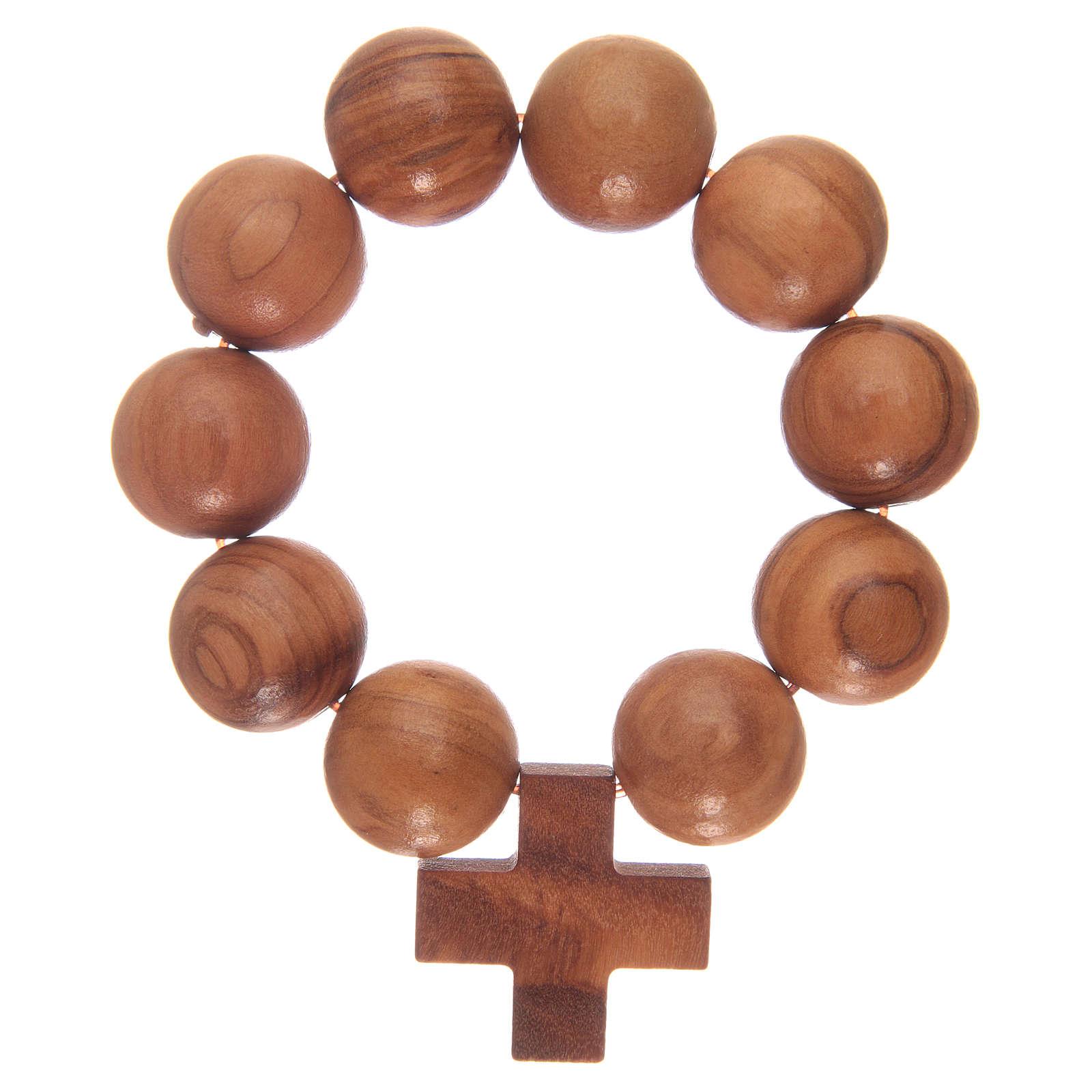 Bracciale elastico decina con grani e croce in legno di ulivo 4