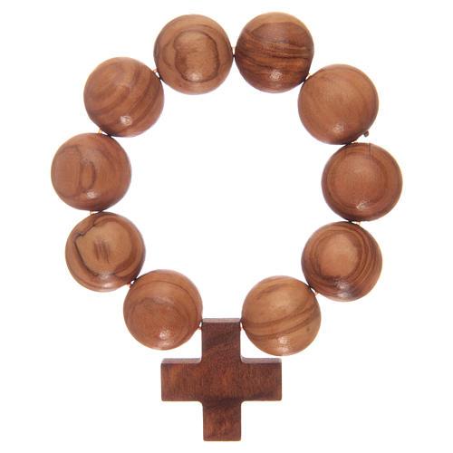 Bracciale elastico decina con grani e croce in legno di ulivo 1