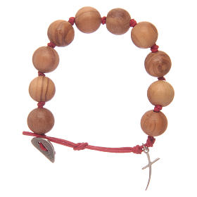 Dozen rosary bracelet with green grains in olive wood and cross s1