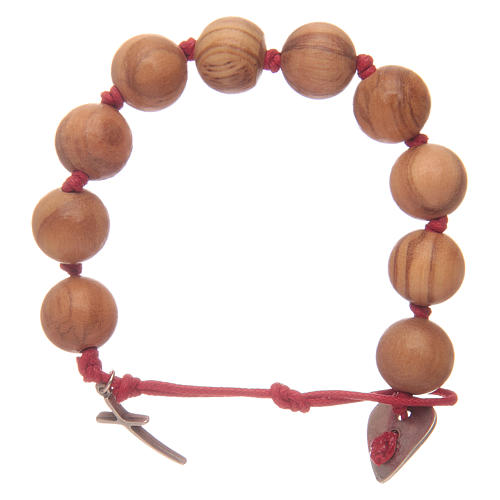 Dozen rosary bracelet with green grains in olive wood and cross 2