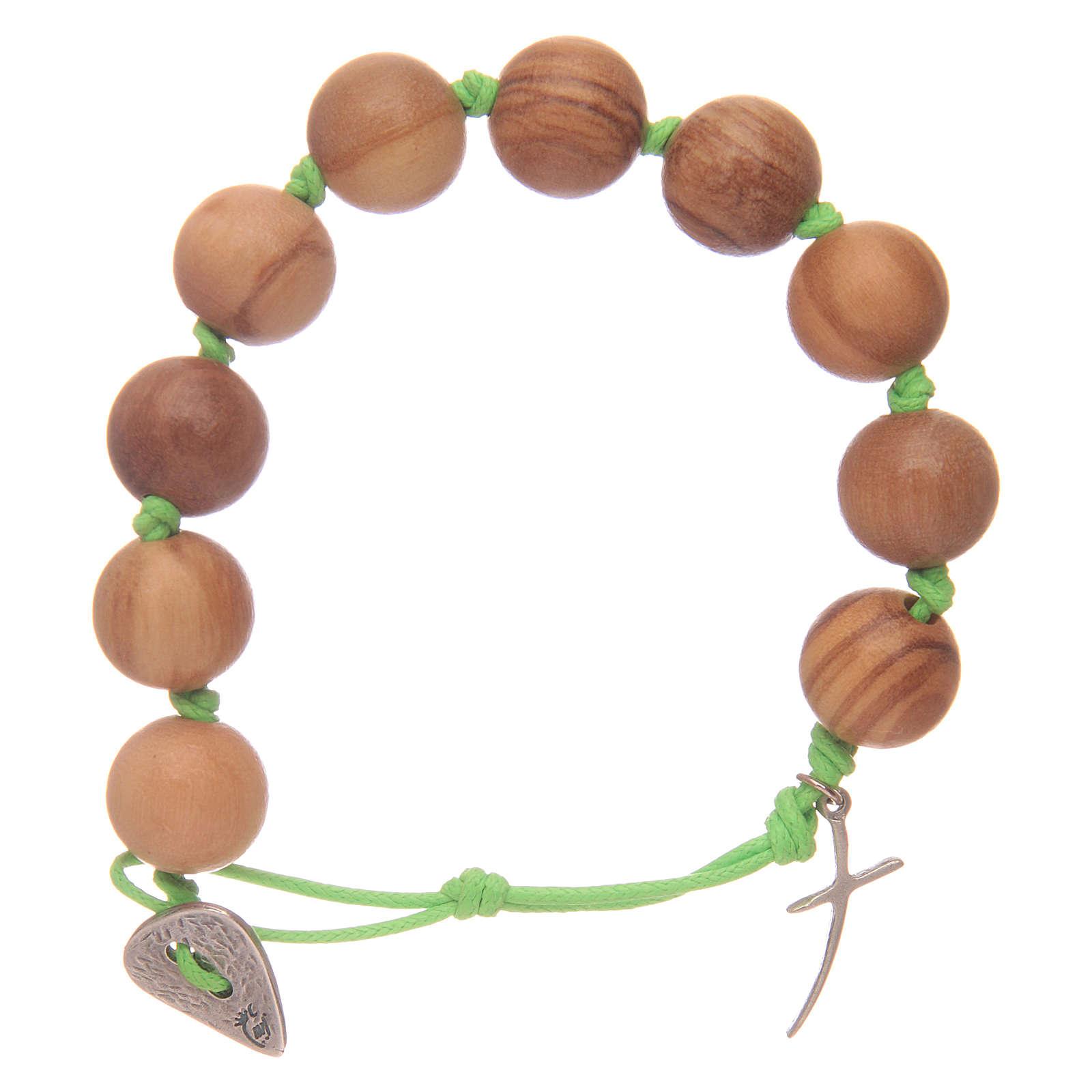 Bracciale decina corda verde grani ulivo e croce 4